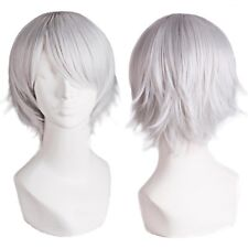Short Silver Hot Wire Cospla Wig Synthetic Hair Heat Resistant For Costume Party