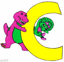 "5.5"" BARNEY & BABY BOP ABC LETTER C CHARACTER  FABRIC APPLIQUE IRON ON"