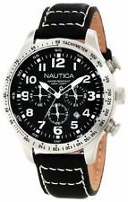 "NEW Nautica Men's N17616G ""BFD 101"" Stainless Steel Watch Black Leather Band"