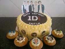 ONE DIRECTION TORTA DECORAZIONE SET + 10 Commestibili Decorazioni per Cupcake-OD1 personalizzato