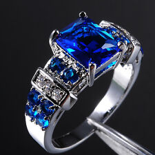 Size 12 or Y Mens Brand Jewelry 10KT White Gold Filled Blue Tanzanite Ring Gift
