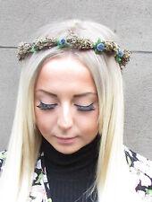 Marineblau Echte Getrocknete Blatt Braun Beeren Stirnband Girlande Kranz