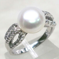 TRENDY FRESHWATER PEARL 925 STERLING SILVER RING SIZE 6