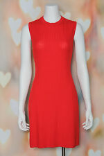 Chic *ST. JOHN COLLECTION* Marie Gray POPPY ORANGE Ribbed Knit SWEATER DRESS 6
