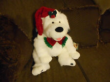 """JC Penney Teddy Bear Plush 28"""" White w/ Hat & Scarf  1992 Holiday Collection"""