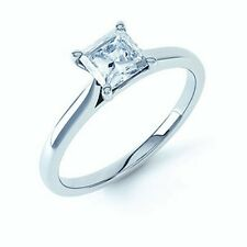 1.15Ct Classic Princess Diamond Solitaire Domino Ring Crafted in 950 Platinum  .