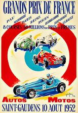 Grands Prix de France 1959 Motos Automobile Car Race  Deco Auto  Poster Print