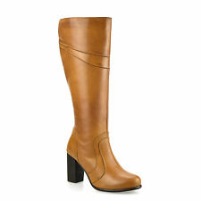 Ladies Womens Leather Knee High Block Heel Zip Up Biker Riding Boots Shoes Size