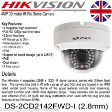 HIKVISION 4MP 2.8 mm 1080P PoE ONVIF WDR a cupola IP TELECAMERA ds-2cd2142fwd-i UK Venditore