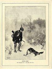 """J. Schmitzberger""""Endlich erwischt"""" Fuchs in der Falle Dekorativer Holzstich 1896"""