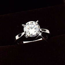 Solitaire 2CT 18k White Gold Filled GF Women Ring Swarovski Element Crystal SZ8