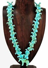 Hand Carved Southwestern Turquoise Horse Fetish Necklace Jewelry