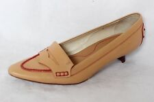 TOD'S Nude Beige Leather Pointed Toe Penny Loafer Pumps Heels Women's US 7