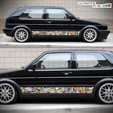 Side Sticker Bomb Set Decal Graphic for VW Volkswagen Golf Mk2 1983 1985 1998 GL
