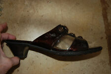 Dark Brownish Burgundy Patent Leather SOFFT OpenToe Slides w/Accents 10 M