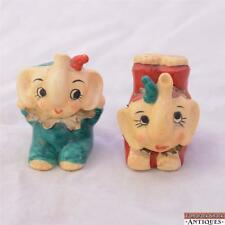 Early Enesco Circus Baby Elephant Clown Ruffle Collar Trick Red Green Shakers