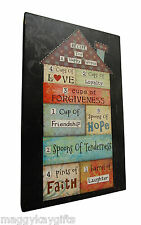 Recipe For A Happy Home - Large Wooden Wall Frame - Picture - Sign