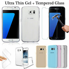 Samsung S6 Edge Ultra Soft Clear TPU Gel Silicone Back Case Cover + Screen Glass