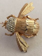 Vintage Figural Dimond Cut Insect Bug Fly Bee Brooch Pin Clear Rhinestone 3-D