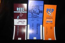 """Vintage Lot  of 3 Cigarette Tobacco Can Labels 1940's """"Pep, Way-Up & Reel"""" NICE"""