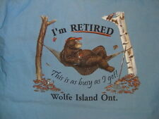 "Wolfe Island Ontario Canada Bear in a Hammock ""I'm Retired"" Light Blue T Shirt M"