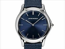 EMPORIO ARMANI SWISS MADE ARS2012 Silver Navy Blue Lizard Leather Strap Watch