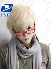 Boy Natural Light Blonde Short Straight Bangs Cosplay Handsome Men Hair Full Wig