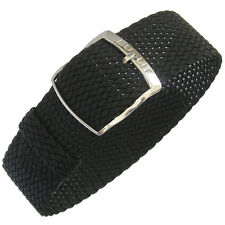 18mm EULIT Panama Black Tropic Woven Nylon Perlon German Made Watch Band Strap