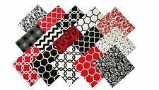 15 10 X 10 inch Quilting LAYER CAKE Squares Red/Black and Whites Buy It NOw !