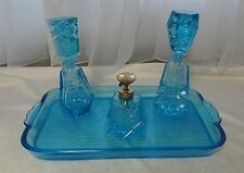 Vintage ELECTRIC BLUE Glass DRESSER Vanity PERFUME Cologne SET Atomizer & Tray