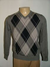 MENS MARCO FIORI V-NECK SWEATER SIZE M 100% MERINO WOOL MADE IN ITALY GRAY #70