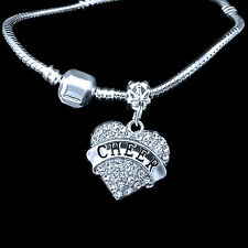 cheerleader Bracelet Cheering Cheer crystal heart charm best jewelry gift