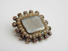 Fine Georgian Guilt Mourning Brooch With Braided Hair Amethyst and Pearls