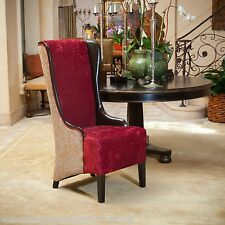 Tall Chocolate Brown Ruby Fabric Wingback Arm Dining Chair w/ Leather Accent