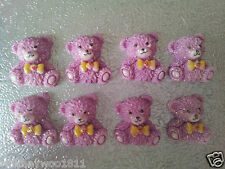 10 Cute Teddy Bear Cabochons PINK Cards Craft Jewellery & Sewing 1.5 x 1.7cm
