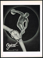 1950's Vintage 1955 Ogival Wrist Watch Mid Century Modern Discus Art Print AD
