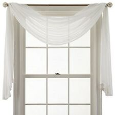 "*MarthaWindow Airy Sheer Window Scarf Valance 50""Wx144""L Ivory NEW"