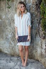 ZARA NEW LINEN STRIPED ECRU TUNIC DRESS  SIZE XS