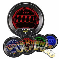 AUTOGAUGE EVO 85MM DIGITAL TACHOMETER GAUGE BLUE RED GREEN WHITE WITH WARNING