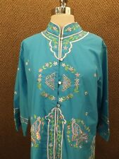 Amazing NOS Vtg 70s 80s Ethnic Butterfly Embroidered Caftan Shirt Sz 14 Boho NEW