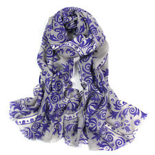 100% Pure Wool Woman's Pashmina Soft Wrap Stole scarf Grey & purple  UKSeller