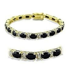 P415503PB  OVAL CUT JET BLACK  7 INCH SIMULATED DIAMOND BRACELET 12CTS TENNIS