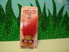 """VALENTINE TRUE LOVE TROLLS PIN  - 1 1/4"""" Russ Troll - NEW ON CARD - Very Rare"""
