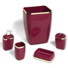 5 Piece Bath Bathroom Accessory Set Wastebasket Soap Dish Burgundy w/Gold Trim