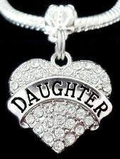 Daughter Charm fits European style bracelet Daughter  One Crystal Heart charm