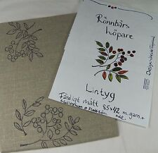 Swedish Linen Hand Drawn Design Table Runner Embroidery Red Berries Green Leaves