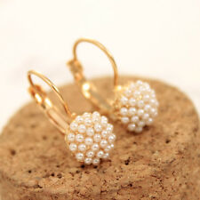 NiX 1246 New Gold Plated Double Side White Pearl Flower Earring Pearl Gift Women