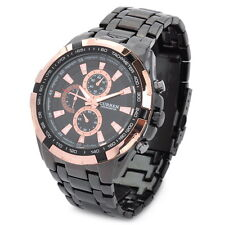 CURREN Men's Quartz Sports Wrist Watch Black Golden Stainless Steel Waterproof