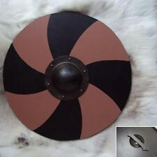 Brown & Black Painted Hand Made Wooden Viking Shield. Perfect For Re-enactment.