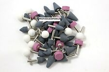 "50 ASSORTED MOUNTED ABRASIVE GRINDING STONES 1/4"" SHANK DRILL"